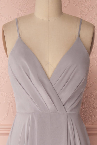 Aelis Grey Chiffon Pleated Plunging V-Neckline Gown | Boudoir 1861 3