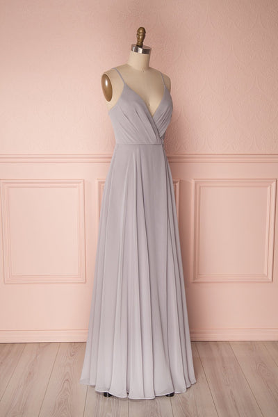 Aelis Grey Chiffon Pleated Plunging V-Neckline Gown | Boudoir 1861 4
