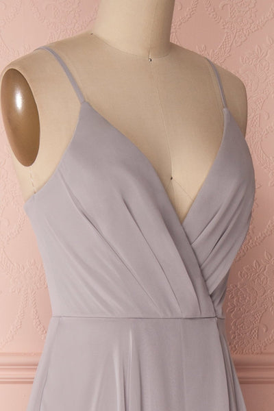 Aelis Grey Chiffon Pleated Plunging V-Neckline Gown | Boudoir 1861 5