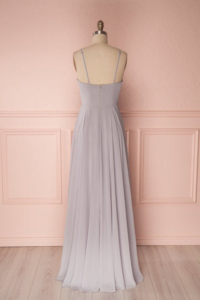 Aelis Grey Chiffon Pleated Plunging V-Neckline Gown | Boudoir 1861 6