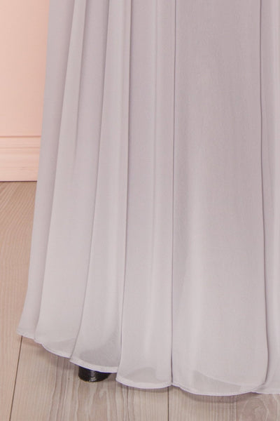 Aelis Grey Chiffon Pleated Plunging V-Neckline Gown | Boudoir 1861 8