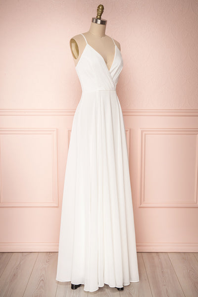 Aelis Ivory Chiffon Pleated Plunging V-Neckline Gown | Boudoir 1861 4