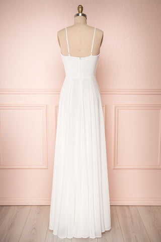 Aelis Ivory Chiffon Pleated Plunging V-Neckline Gown | Boudoir 1861 6