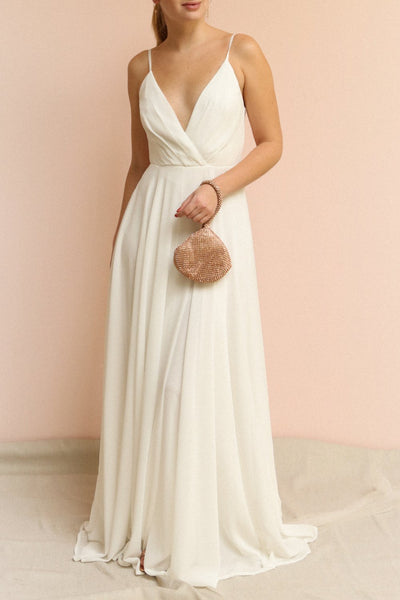 Aelis Grey Pleated Plunging V-Neckline Gown | Boudoir 1861 on model