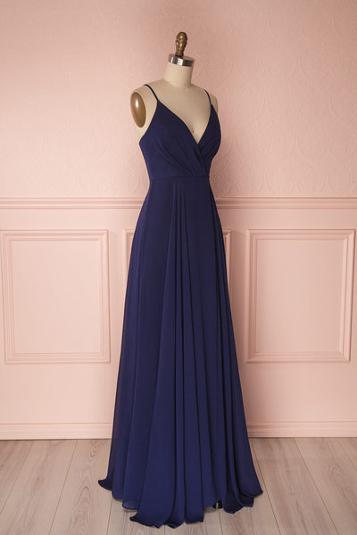 Aelis Navy Chiffon Pleated Plunging V-Neckline Gown | Boudoir 1861 4