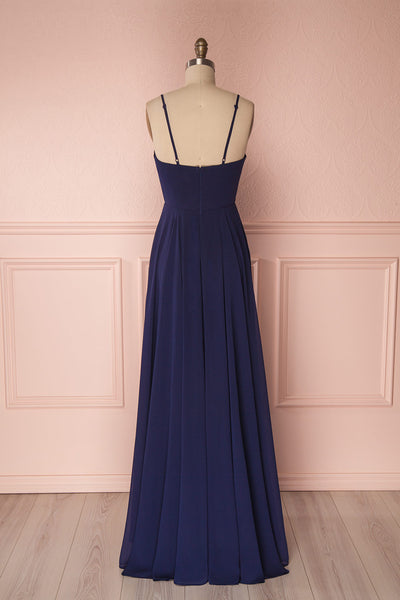 Aelis Navy Chiffon Pleated Plunging V-Neckline Gown | Boudoir 1861 6