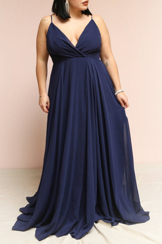 Aelis Navy Pleated Plunging V-Neckline Gown | Boudoir 1861 on model