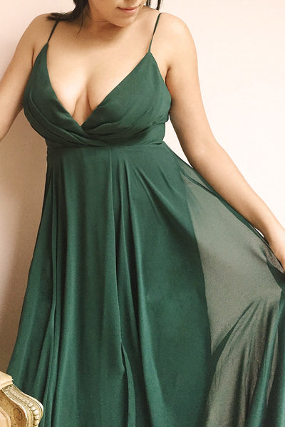 Aelis Green Pleated Plunging V-Neckline Gown | Boudoir 1861 model close up