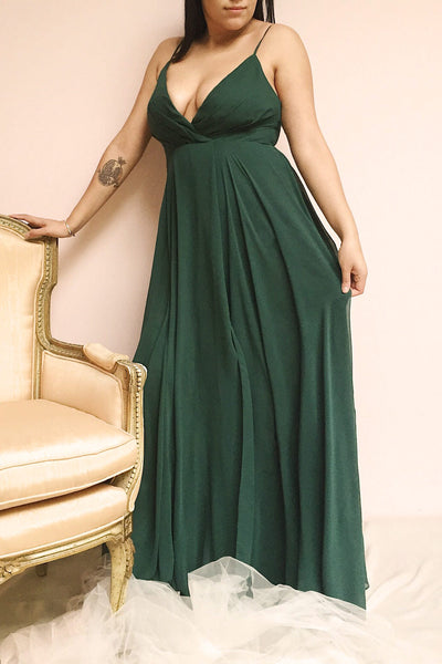 Aelis Green Pleated Plunging V-Neckline Gown | Boudoir 1861 on model