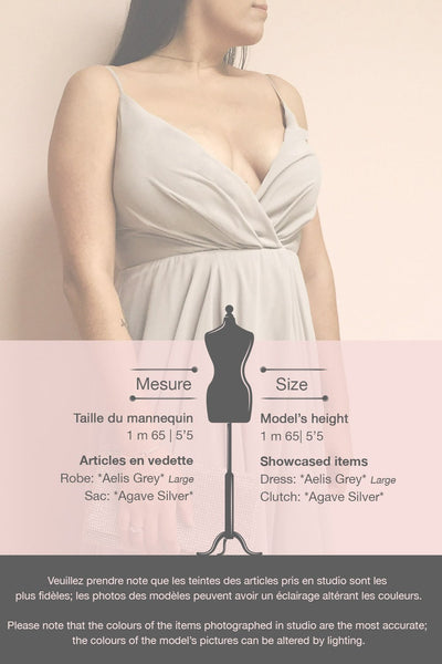 Aelis Grey Pleated Plunging V-Neckline Gown | Boudoir 1861 template