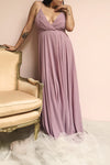 Aelis Mauve Purple Chiffon Plunging V-Neckline Gown | Boudoir 1861 on model
