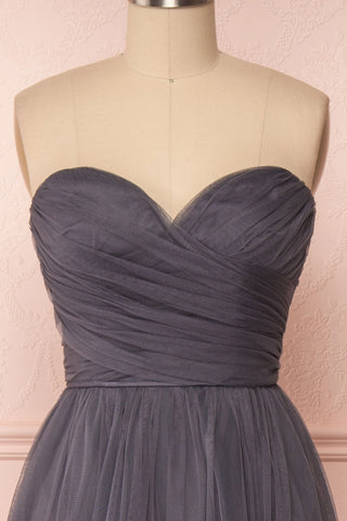 Aerie Charcoal Grey Tulle & Mesh A-Line Maxi Dress | Boutique 1861 front close-up