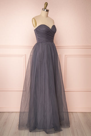 Aerie Charcoal Grey Tulle & Mesh A-Line Maxi Dress | Boutique 1861 side view