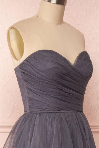 Aerie Charcoal Grey Tulle & Mesh A-Line Maxi Dress | Boutique 1861 side close-up