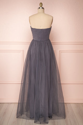 Aerie Charcoal Grey Tulle & Mesh A-Line Maxi Dress | Boutique 1861 back view