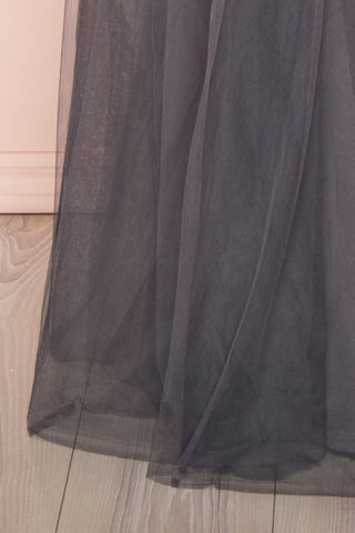 Aerie Charcoal Grey Tulle & Mesh A-Line Maxi Dress | Boutique 1861 bottom close-up