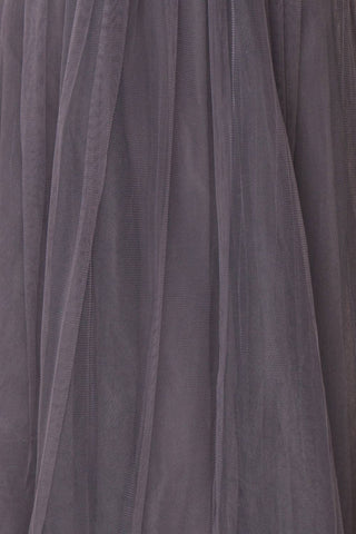 Aerie Charcoal Grey Tulle & Mesh A-Line Maxi Dress | Boutique 1861 fabric detail