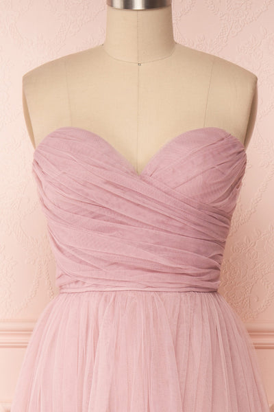 Aerie Dusty Pink Tulle & Mesh A-Line Maxi Dress | Boutique 1861 front close-up