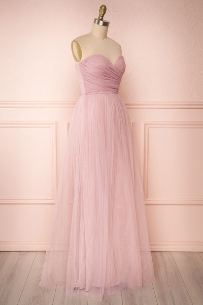 Aerie Dusty Pink Tulle & Mesh A-Line Maxi Dress | Boutique 1861 side view