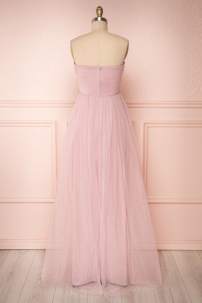Aerie Dusty Pink Tulle & Mesh A-Line Maxi Dress | Boutique 1861 back view