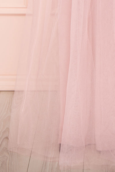 Aerie Dusty Pink Tulle & Mesh A-Line Maxi Dress | Boutique 1861 bottom close-up