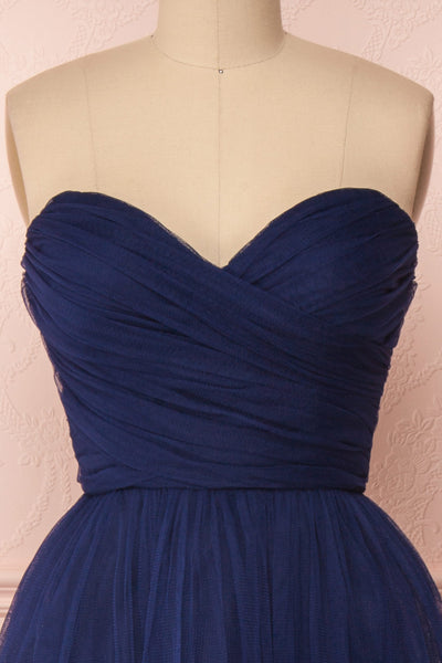 Aerie Navy Blue Tulle & Mesh A-Line Maxi Dress | Boutique 1861 front close-up