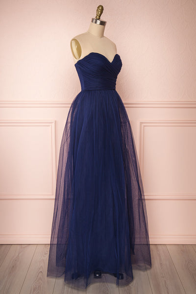 Aerie Navy Blue Tulle & Mesh A-Line Maxi Dress | Boutique 1861 side view