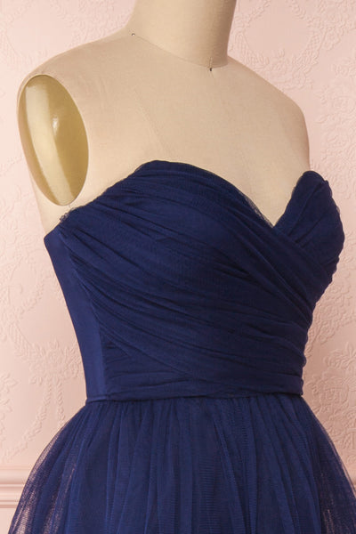 Aerie Navy Blue Tulle & Mesh A-Line Maxi Dress | Boutique 1861 side close-up