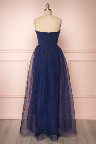 Aerie Navy Blue Tulle & Mesh A-Line Maxi Dress | Boutique 1861 back view