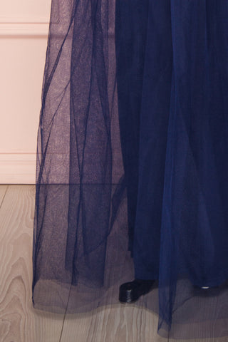 Aerie Navy Blue Tulle & Mesh A-Line Maxi Dress | Boutique 1861 bottom close-up