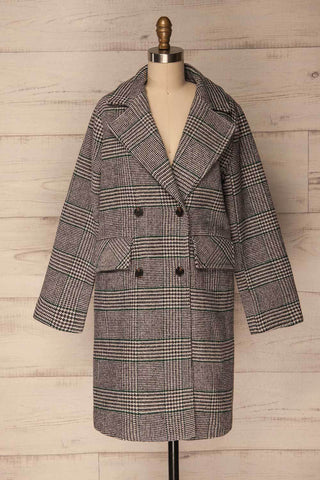 Afarnes Grey Plaid Double Breasted Coat | La Petite Garçonne