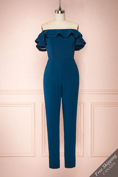 Afeldane Teal Blue Ruffled Off-Shoulder Jumpsuit  | FRONT VIEW | Boutique 1861