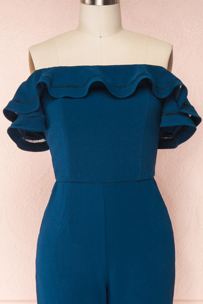 Afeldane Teal Blue Ruffled Off-Shoulder Jumpsuit  | FRONT CLOSE UP | Boutique 1861