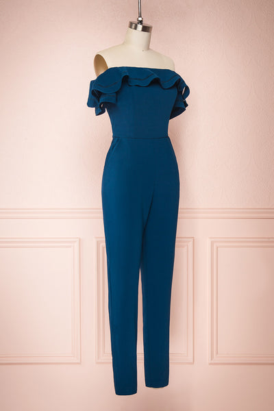 Afeldane Teal Blue Ruffled Off-Shoulder Jumpsuit  | SIDE VIEW | Boutique 1861