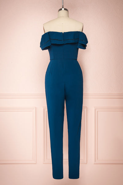 Afeldane Teal Blue Ruffled Off-Shoulder Jumpsuit  | BACK VIEW | Boutique 1861
