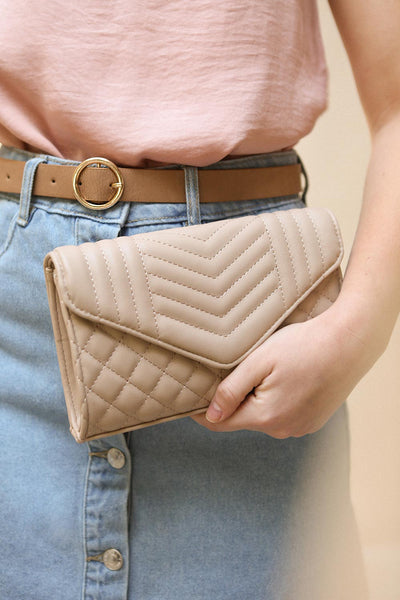 Affatim Beige Quilted Crossbody Clutch Bag | La Petite Garçonne 2