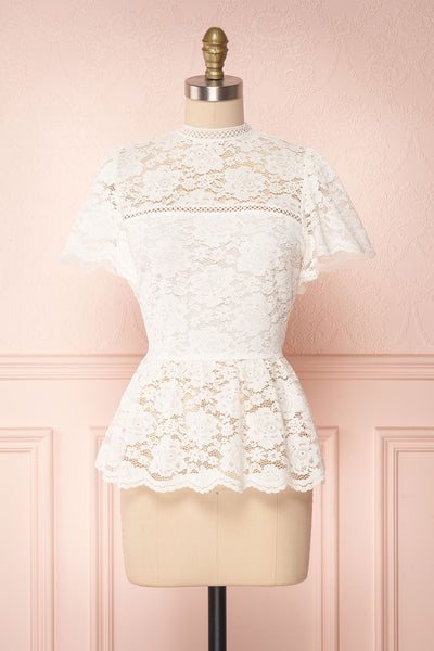 Agafya White Short Sleeved Lace Top with Peplum | Boudoir 1861 1