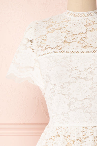 Agafya White Short Sleeved Lace Top with Peplum | Boudoir 1861 2