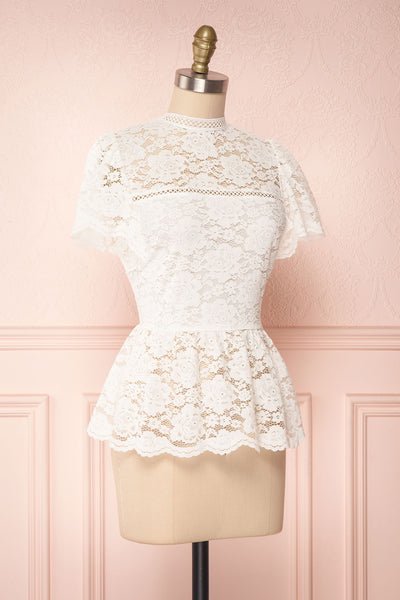Agafya White Short Sleeved Lace Top with Peplum | Boudoir 1861 3