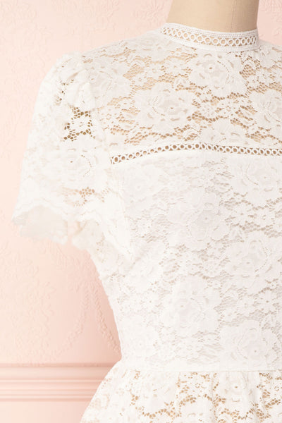 Agafya White Short Sleeved Lace Top with Peplum | Boudoir 1861 4