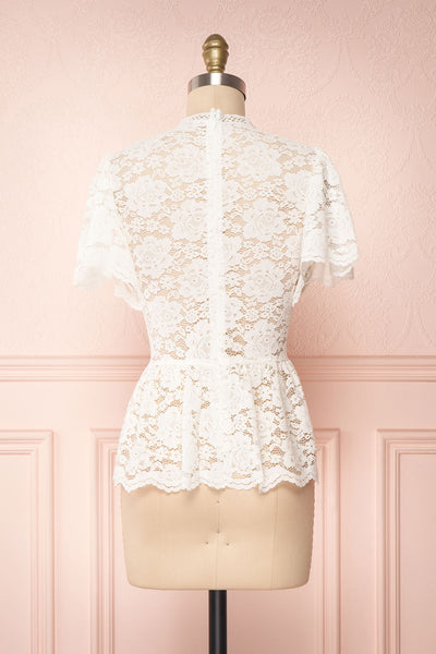 Agafya White Short Sleeved Lace Top with Peplum | Boudoir 1861 5