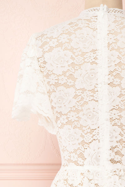 Agafya White Short Sleeved Lace Top with Peplum | Boudoir 1861 6