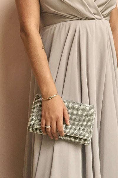 Agave Silver Crystal Clutch | Boutique 1861 on model 2