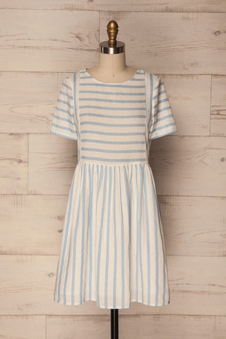 Aglie Blue & White Striped Smock Dress | La Petite Garçonne