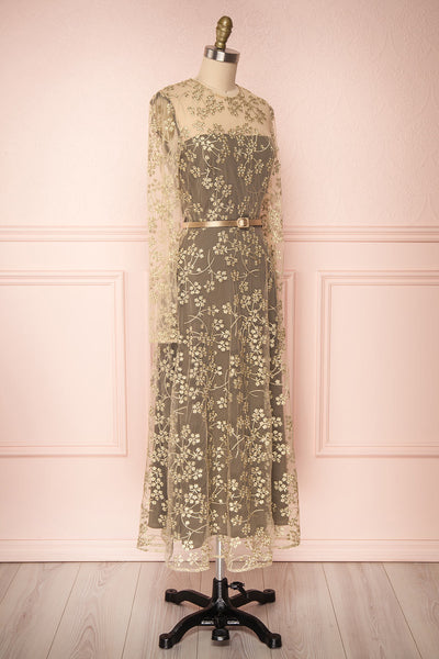 Agnetha Golden Floral Mesh Midi A-Line Dress | Boutique 1861 3