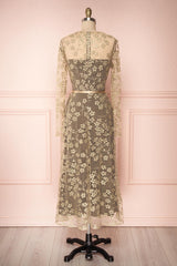 Agnetha Golden Floral Mesh Midi A-Line Dress | Boutique 1861 5