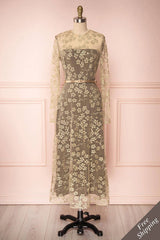 Agnetha Golden Floral Mesh Midi A-Line Dress | Boutique 1861 1