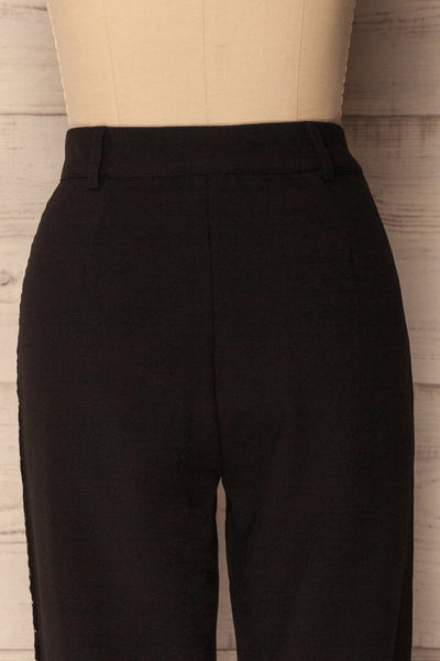 Agnova Black Straight Leg Pants with Studs | La Petite Garçonne 6
