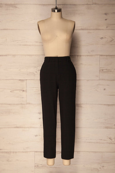 Agnova Black Straight Leg Pants with Studs | La Petite Garçonne 1