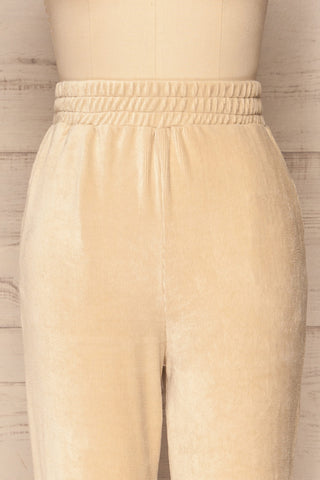 Agnone Beige Stretchy Corduroy Lounge Pants front close up | La Petite Garçonne